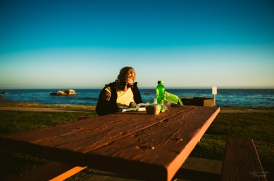 Having an evening snack on the road near Pismo Beach, CA.