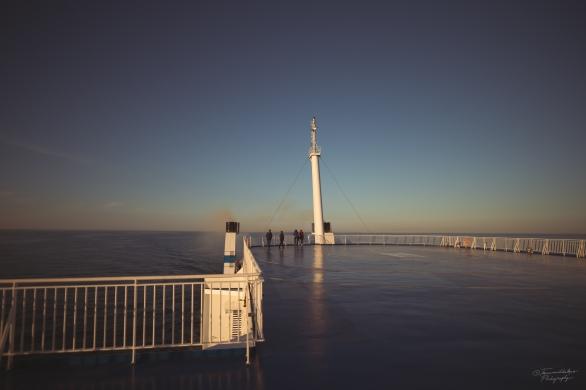 Enjoying the sunset on deck.