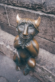 This statue of devil was sitting right next to Marienkirche. There was a story about it how when the first stones of the church were laid the devil thought it was going to be a winebar. He was eager to help but when he heard it was actually going to be a church he got so furious he took this stone and was going to smash the walls. However the people near were able to make him change his mind by promising to build a winebar for the devil right next to the church. So the devil dropped the stone on which the statue sits today.